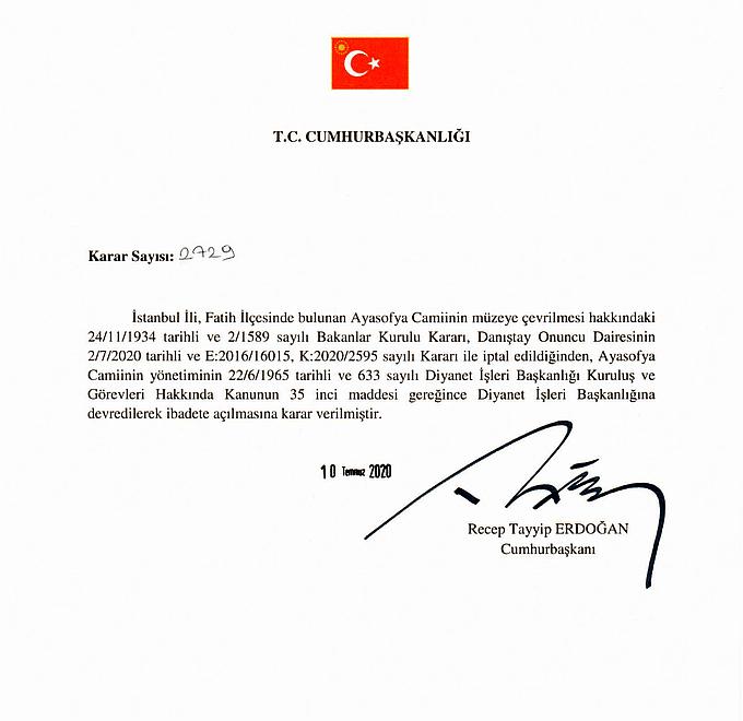 Decret Erdogan - Hagia Sofia